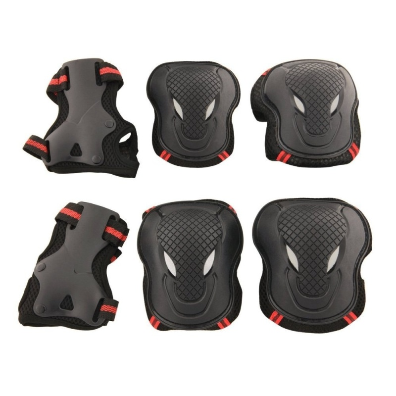 Mua 6 cái Người Lớn Trẻ Em Đi Xe Đạp Trượt Patin Đi Xe Đạp Bộ Đầu Gối Khuỷu Tay Cổ Tay Bảo vệ Đệm Hỗ Trợ Bộ Size M (đen + Đỏ) -quốc tế
