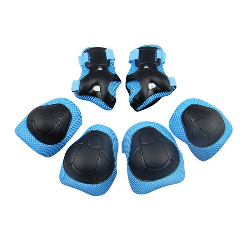 Mua 6 cái Bé Đạp Xe Trượt Patin Đi Xe Đạp Bộ Đầu Gối Khuỷu Tay Cổ Tay Bảo vệ Đệm Hỗ Trợ 1055 (Đen + xanh dương) -quốc tế