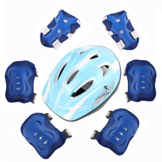 7 sets of children's skating knee knees helmet beginner bike protection helmet (Lake blue) - intl