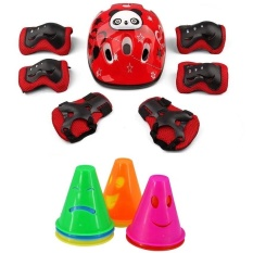 7pcs Kid Cartoon Panda Helmet Protective Elbow Wrist Knee Pads(Red)+20pcs Emoji Soft Skating Piles Windproof Obstacle Cups(Random Color) For Sport Cycling Skateboard Roller Skating Skill Training Competition Safety Set - intl