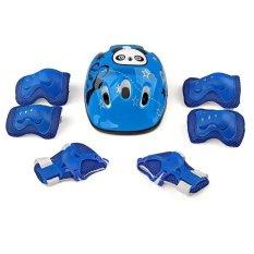7 cái Kid An Toàn Bộ Mũ Bảo Hiểm Bảo vệ Khuỷu Tay Cổ Tay Lót Đầu Gối Cho Ván Trượt Trượt Patin Đạp Xe (Xanh Dương) -quốc tế