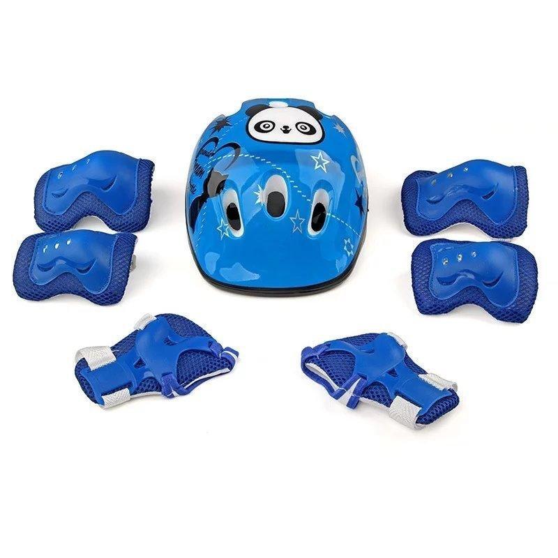 Mua 7 cái Kid An Toàn Bộ Mũ Bảo Hiểm Bảo vệ Khuỷu Tay Cổ Tay Lót Đầu Gối Cho Ván Trượt Trượt Patin Đạp Xe (Xanh Dương) -quốc tế