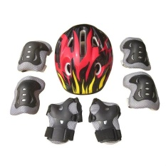 7pcs Kids Elbow Wrist Knee Pads Helmet Protective Gear Adjustable Skateboard Roller Skating Cycling Sport Safety Set(Red+Black+White) - intl