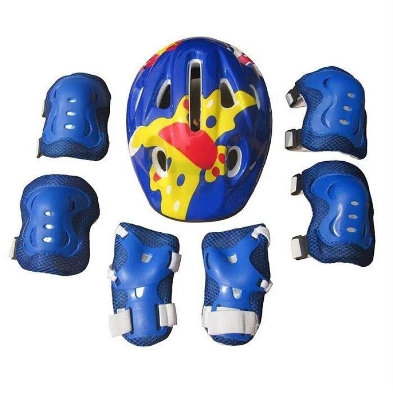 Mua 7 cái Trẻ Em Khuỷu Tay Cổ Tay Lót Đầu Gối + tặng Mũ Bảo Hiểm dành cho Thể Thao Ván Trượt Trượt Patin Đi Xe Đạp Bảo vệ An Toàn Bộ (xanh dương) -quốc tế