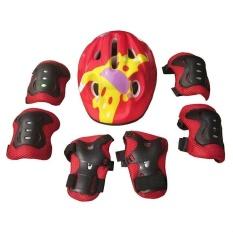 7 cái Trẻ Em Khuỷu Tây Cổ Tây Lót Đầu Gối + tặng dây đeo Mũ Bảo Hiểm dành cho Thể Thao vệ Trượt Trượt Patin Đi Xe Đạp Bảo vệ An Toàn Bộ (đỏ) -quốc tế