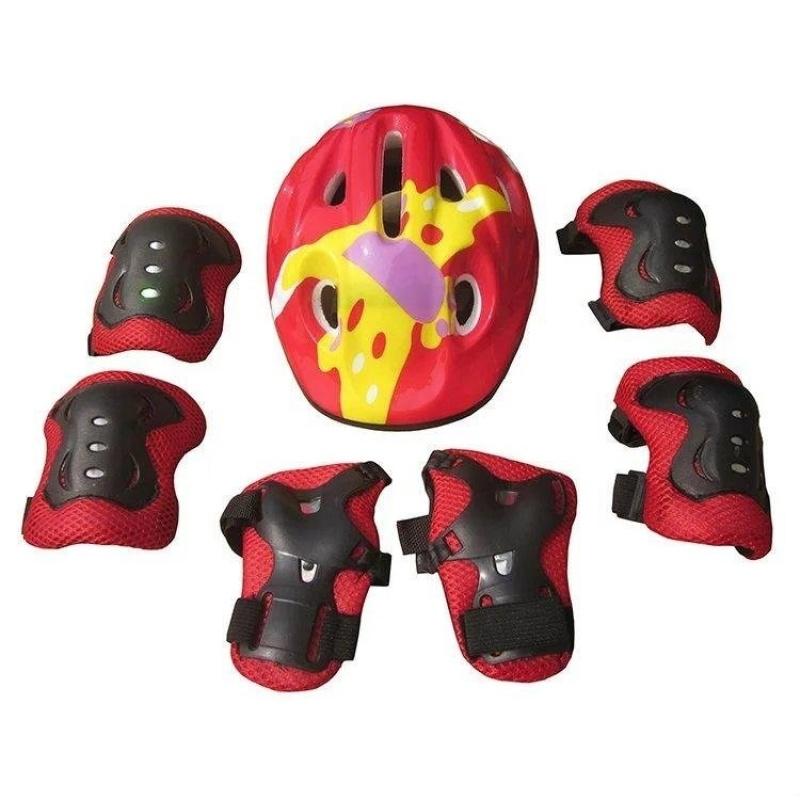 Mua 7 cái Trẻ Em Khuỷu Tây Cổ Tây Lót Đầu Gối + tặng dây đeo Mũ Bảo Hiểm dành cho Thể Thao vệ Trượt Trượt Patin Đi Xe Đạp Bảo vệ An Toàn Bộ (đỏ) -quốc tế