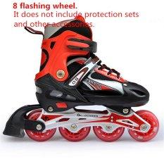 Có thể điều chỉnh Lăn Full Flash PU Nội Tuyến Trượt Băng Giày Cho Bé 31-34 (Đỏ)-quốc tế
