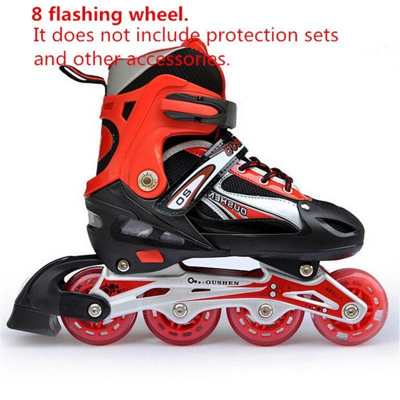 Phân phối Có thể điều chỉnh Lăn Full Flash PU Nội Tuyến Trượt Băng Giày Cho Bé 31-34 (Đỏ)-quốc tế