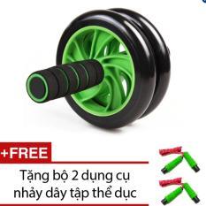 Bán Bánh xe lăn tập bụng và ngực Double Wheel KA05 (xanh) + Tặng bộ 2 dụng cụ nhảy dây tập thể dục