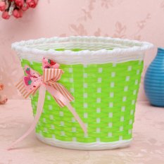 Bike Flowery Front Basket Bicycle Cycle Shopping Stabilizers Children Kids Girls green - Intl