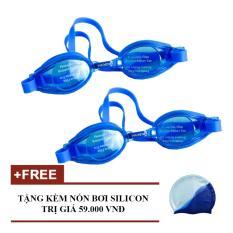 Hình ảnh Bộ 2 Kính Bơi PN 203 + Tặng Nón Bơi (xanh dương)