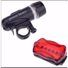 Hình ảnh Bộ đèn pin gắn xe đạp và đèn chiếu hậu 5 LED WJ-101 (Đen đỏ)