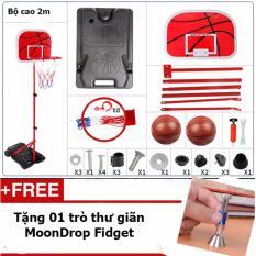 Hình ảnh Bộ đồ chơi bóng rổ giúp bé phát triển chiều cao loại cột sắt 2m phổ biến nhất thị trường + Tặng 01 trò thư giãn MoonDrop Fidget