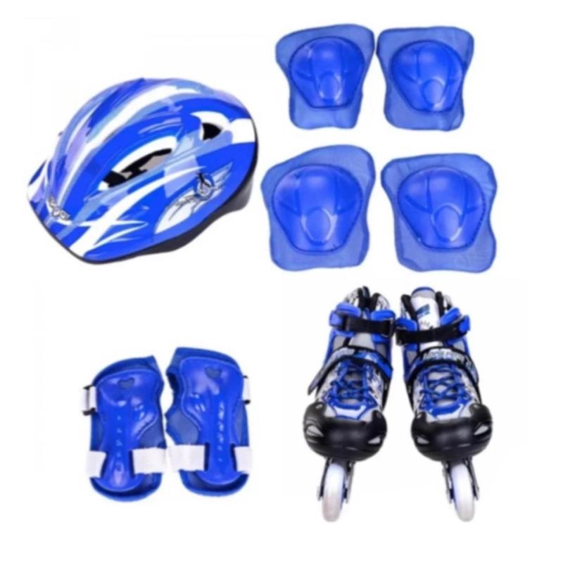 Phân phối Bộ giày chơi patin ( giày trượt + bảo vệ tay chân + nón bảo hộ ) size L 38-42 ( xanh )