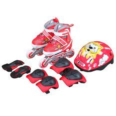 Bộ giầy Patin Inline Skate ASL 6003 (trắng đỏ) 28/31