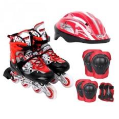 Bộ Giày Patin PTB PT01 + Găng Tay + Mũ Bảo Hiểm Size M (35 – 38) (Đỏ)