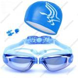 Giá Bán Rẻ Nhất Bộ Kinh Bơi Mắt Trang Gương Mau Xanh Biển 6615 Gồm Mũ Bơi Bịt Tai Kẹp Mũi Cao Cấp Dongdong