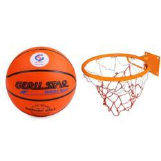 Hình ảnh bộ quả bóng rổ gerustar số 6 và vành rổ zensport 40 cm