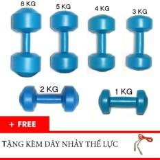 Bộ tạ tay nhưa 1kg, 2kg, 3kg 4kg, 5kg, 8kg tặng dây thể lực