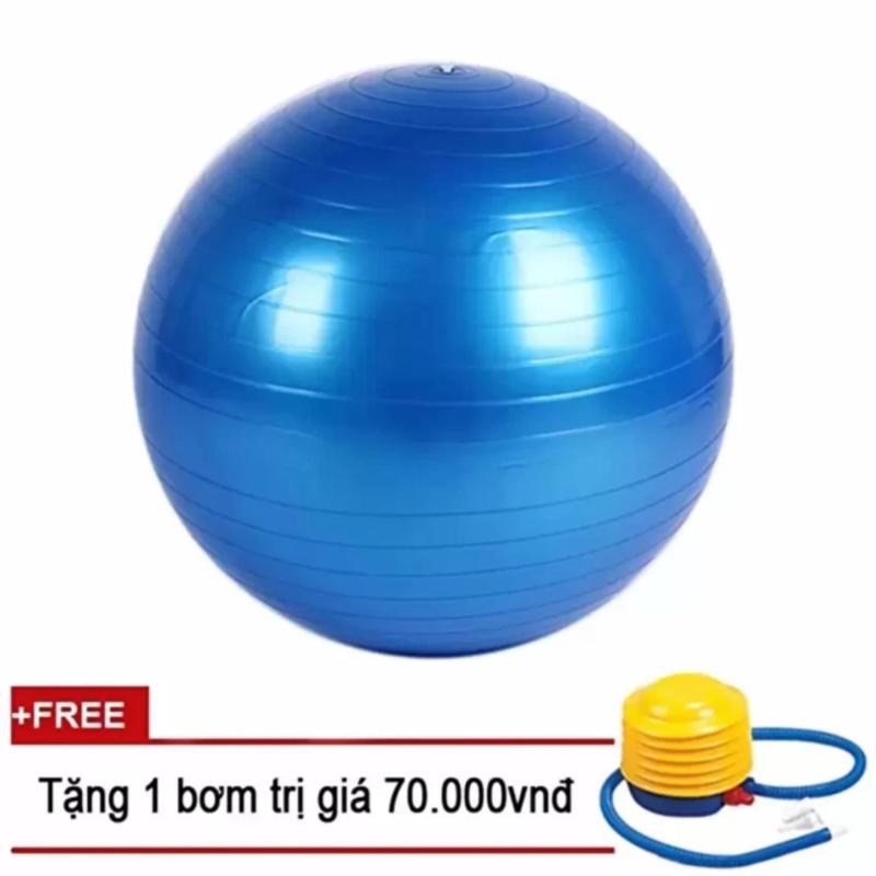 Bóng tập Yoga Trơn 75cm Sportmax  - Màu Xanh + Tặng 1 bơm tay mini
