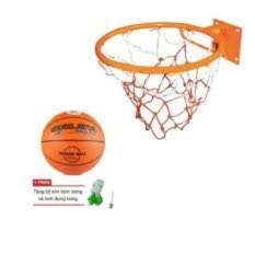 Hình ảnh combo vành bóng rổ 40cm+quả bỏng rổ size 6 kèm lưới và kim bơm