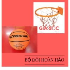 Combo bộ sản phẩm Vành bóng rổ 40cm + tang quả bóng rổ số 5 (Cam)