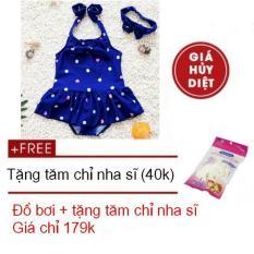 Hình ảnh Combo Đồ bơi trẻ em chấm bi kiểu dáng Hàn Quốc và tăm chỉ nha sĩ Decoshop68 Combo-B01X-M