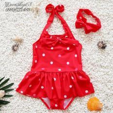 Hình ảnh Đồ bơi chấm bi cho bé từ 1-3 tuổi kiểu dáng Hàn Quốc B01D-M Decoshop68 màu đỏ