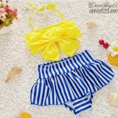 Hình ảnh Đồ bơi cho bé từ 5-6 tuổi áo nơ váy kẻ sọc B02V-XL Decoshop68 màu vàng