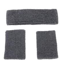 Mua Elastic Sweatband Set 1X Headband 2X Wristbands For Sports Grey Intl Rẻ Hong Kong Sar China