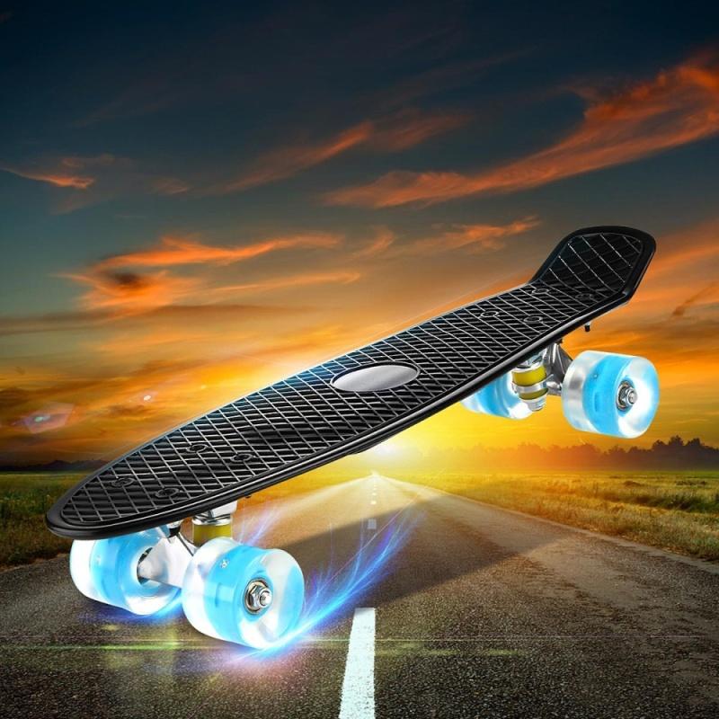Enkeeo Kids Youths 22 Penny Style Skateboard Long Board Plastic Stakeboard Gift Black - intl