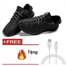 Hình ảnh Giày Sneaker Thể Thao Nữ GL – A03 (Màu Đen) +Tặng cáp sạc nhanh đầu Samsung