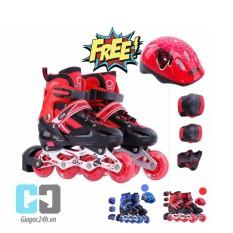 Giầy trượt patin cao cấp tặng kèm bộ bảo vệ chân tay và mũ bảo hiểm