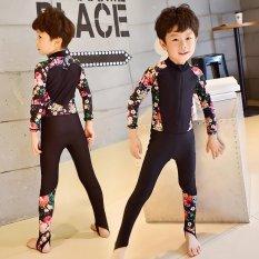 Hình ảnh Trẻ em Bé Trai Họa Tiết Dây Kéo Miếng Dán Cường Lực Tay Áo Dài Chống Nắng Nhiệt Đồ Bơi (Bé Trai)-quốc tế