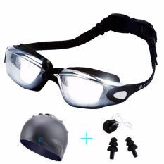 Hình ảnh Kính bơi tặng kèm mũ bơi, kẹp mũi, bịt tai (màu đen)