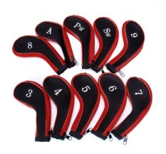 Hình ảnh leegoal 10 Golf Iron Headcovers Sports Protective Cover Set (Red Black) - intl