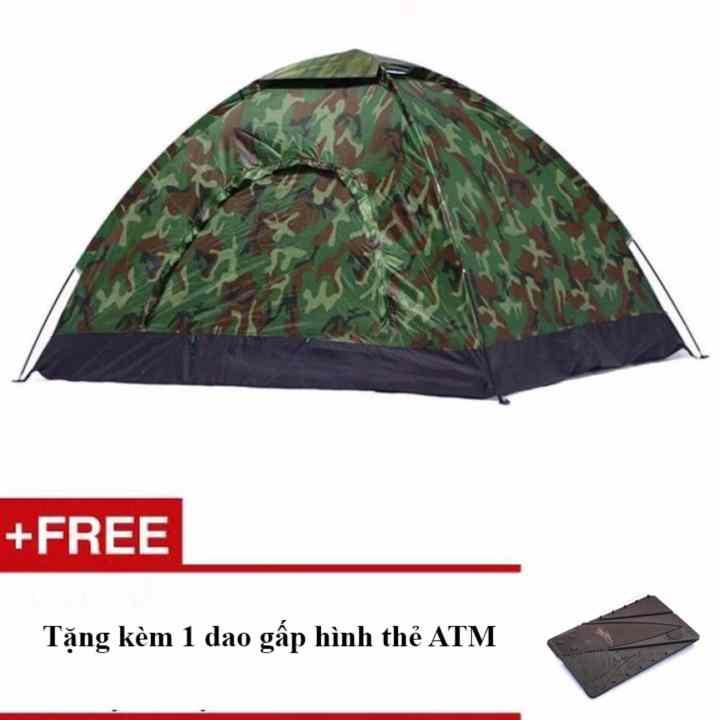 Lều cắm trại vải dù rằn ri + Tặng kèm 1 dao gấp hình thẻ ATM
