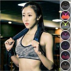 Hình ảnh Newest Adjustable Women Fitness Bra Shakeproof Stretch Bra Top Seamless Padded Vest Push Up Yoga Bras-Grey Women Size L - intl