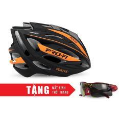 Nón Bảo Hộ Cho Người đi Xe đạp FORNIX A02N050L (Đen Cam) + Tặng Mắt Kính Thời Trang Siêu Khuyến Mại