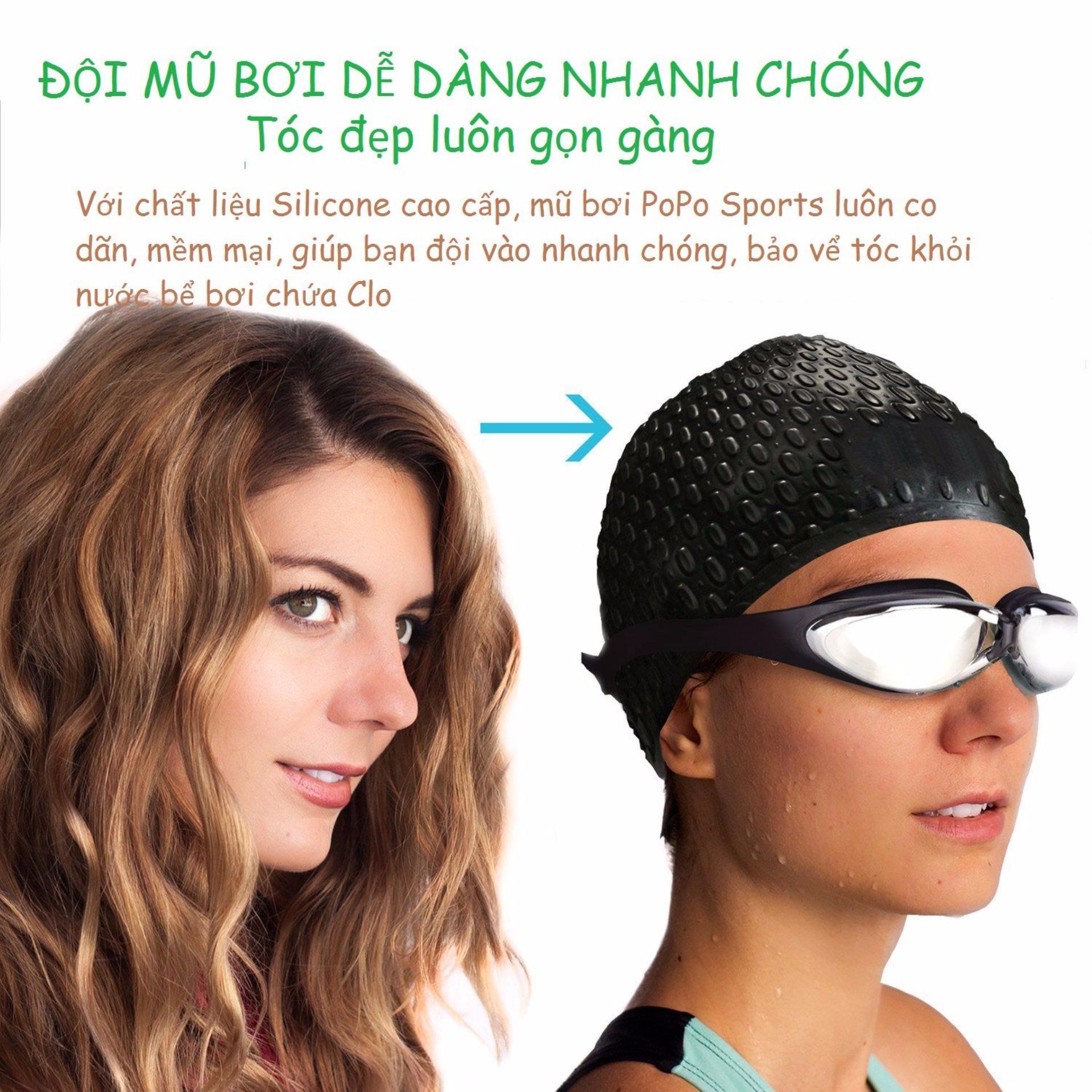 Nón bơi mũ bơi trơn silicone chống thống nước cao cấp CA31 POPO Collection - 4