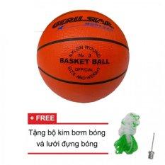 Hình ảnh Quả bóng rổ cao su Gerustar số 3 (Cam) và Tặng kim bơm bóng và lưới đựng bóng