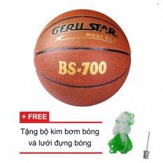 Quả bóng rổ Gerustar PVC BS-700 (Nâu) và Tặng kim bơm bóng và lưới đựng bóng