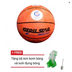 Hình ảnh Quả bóng rổ Gerustar số 5 cao su (Cam) và Tặng kim bơm bóng và lưới đựng bóng