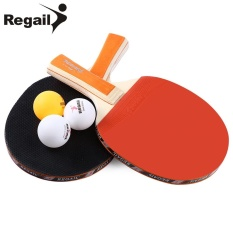 REGAIL A508 Table Tennis Ping Pong Racket Two Long Handle Bat Paddle Three Balls (Orange) - intl