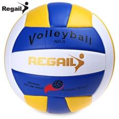 Hình ảnh Regail Size 5 PU Foam Leather Volleyball Indoor Outdoor Match Training Ball (Blue) - intl