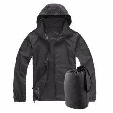 RHS S M L XL 2XL Men Women Ladies Waterproof Windproof Jacket Outdoor Bicycle Sports Rain Coat(Black) - intl