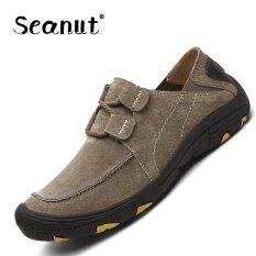 Seanut Men Genuine Leather Sport Shoes Outdoor Hiking Shoes(Khaki) Intl Seanut Chiết Khấu