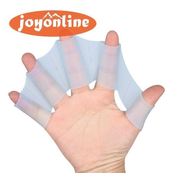 Silicone Hand Swimming Fins Flippers Fast Finger Gloves Web Paddle Blue S