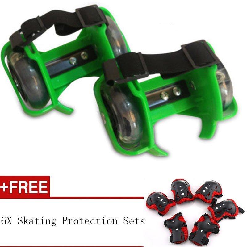 Phân phối Sporting Pulley Heel Roller Skate Lighted Flashing Roller Skates+Free Protective Gear Sets(Green) - intl