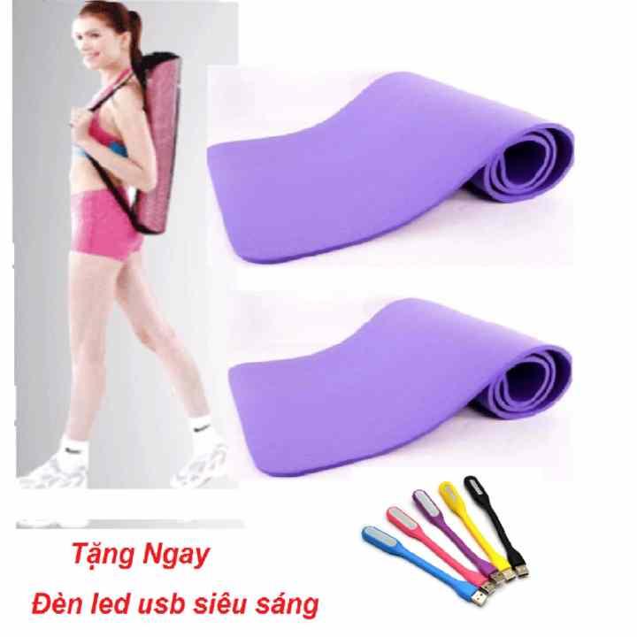 Thảm tập Yoga siêu bền loại dày 10mm TPE (Tím) có túi đựng + Tặng đèn led _Hàng nhập khẩu